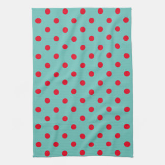 Bright Red Polka Dots on Light Teal Tea Towel