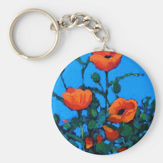 BRIGHT RED POPPIES KEY RING