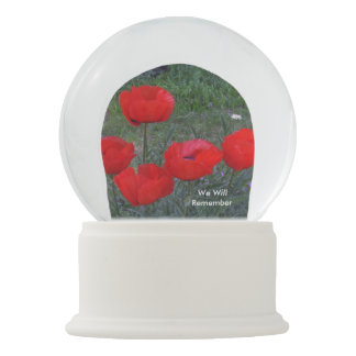 Bright Red Poppies Snow Globes