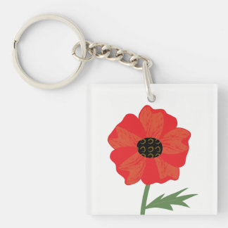 Bright Red Poppy Stem Key Ring