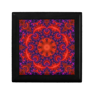 Bright Red Purple Fractal Small Square Gift Box