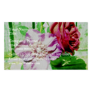 Bright Red Rose and Pink clematis in a vase Pack Of Standard Business Cards