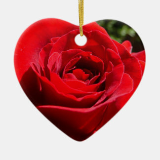 Bright Red Rose Flower Beautiful Floral Christmas Ornament