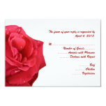 Bright Red Rose Reply Cards with Menu Options Custom Invite