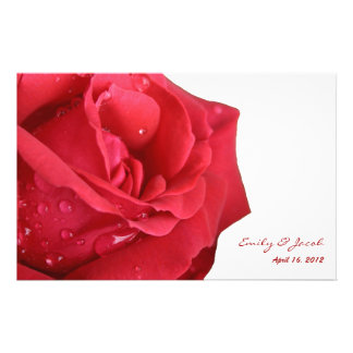 Bright Red Rose Wedding Program 14 Cm X 21.5 Cm Flyer