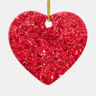 Bright Red Shredded Foil Texture Pattern Christmas Ornament