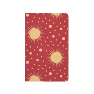 Bright Red Sky with Gold Stars and Suns Journal