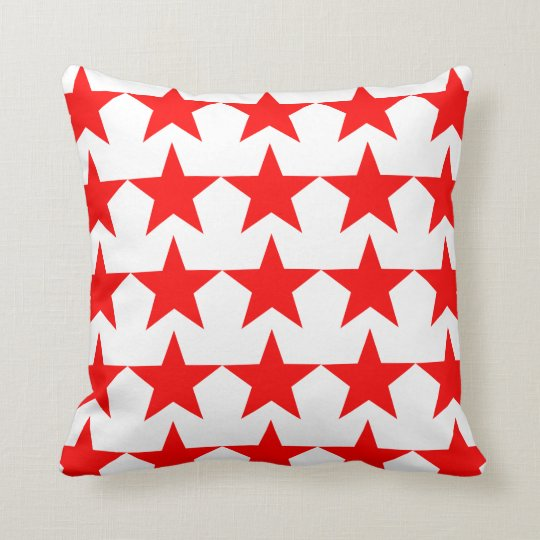 Bright Red Star Pattern on White Cushion