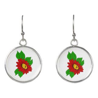 Bright Red Summertime Flower Earrings