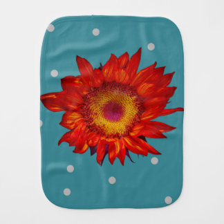 Bright Red Sunflower Blue Baby Burp Cloth