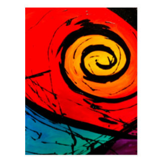 Bright Red Swirl Abstract Groovy Art Postcard