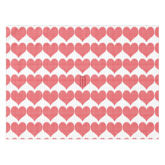 Bright Red Textured Heart Pattern Tablecloth