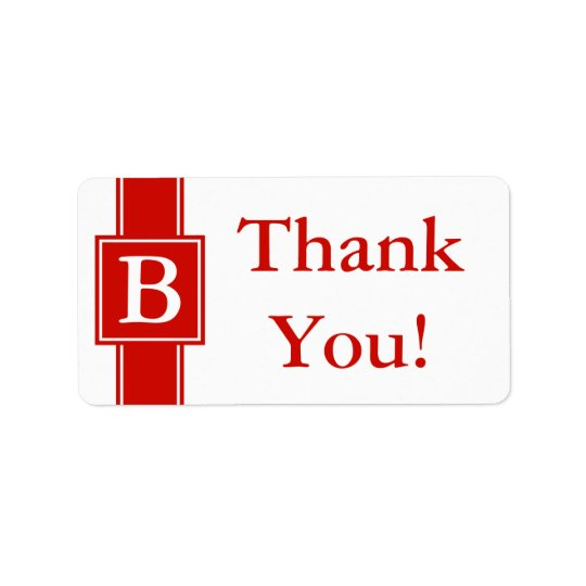 Bright Red Thank You Sticker or Wedding Gift Label Address Label