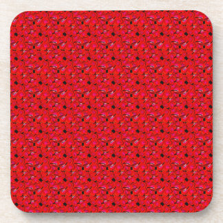 Bright Red Trendy Hibiscus Flowers Drink Coasters