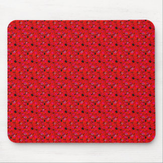 Bright Red Trendy Hibiscus Flowers Mouse Pads
