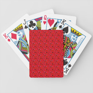 Bright Red Trendy Hibiscus Flowers Bicycle Poker Deck