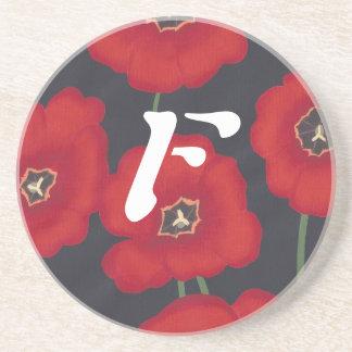 Bright Red Tulips on Black, Monogram Coasters