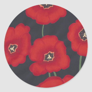 Bright Red Tulips on Black, Stickers