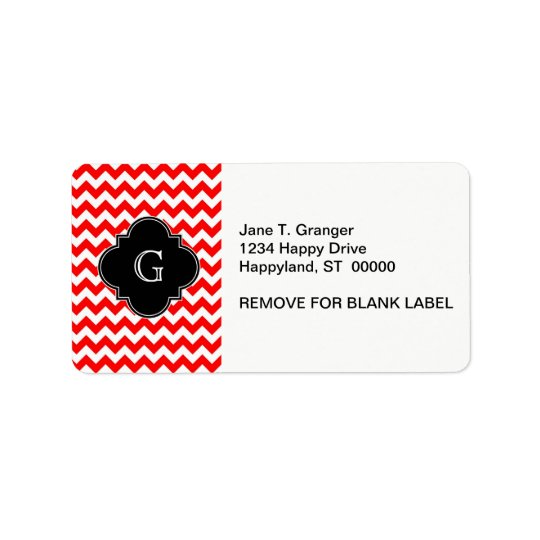 Bright Red White Chevron Black Quatrefoil Monogram Address Label