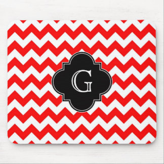 Bright Red White Chevron Black Quatrefoil Monogram Mouse Mat