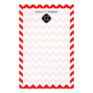Bright Red White Chevron Black Quatrefoil Monogram Stationery