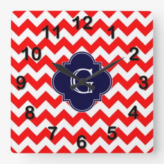 Bright Red White Chevron Navy Quatrefoil Monogram Square Wall Clock