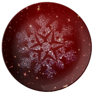 Bright red white snow plate