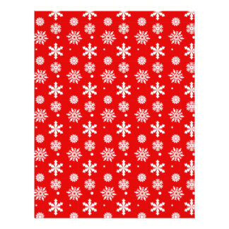 Bright Red White Snowflakes Pattern 1 Flyer
