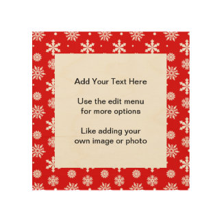 Bright Red White Snowflakes Pattern 1 Wood Print
