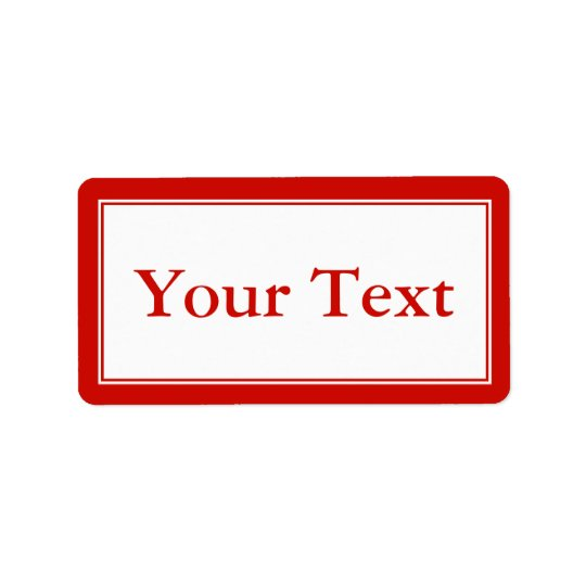 Bright Red & White Sticker or Label w/ Custom Text