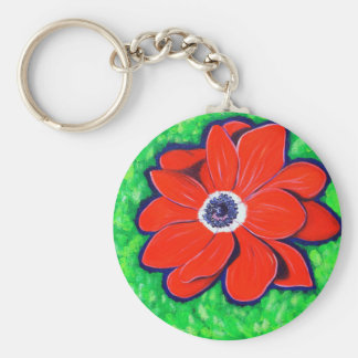 Bright Red Windflower Basic Round Button Key Ring