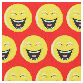 Bright Red with Laughing Smiley Fabric