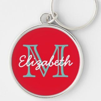 Bright Red With Light Teal and White Monogram Key Ring