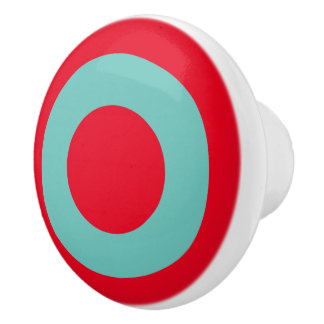 Bright Red With Light Teal Circle Ceramic Knob