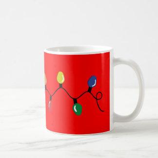 Bright Red with Xmas Lights Basic White Mug