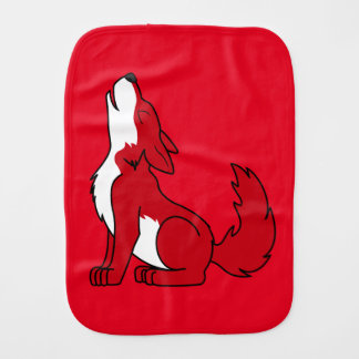Bright Red Wolf Pup Howling Baby Burp Cloth