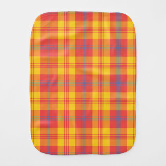 Bright Red, Yellow and Blue Plaid Baby Burp Cloth