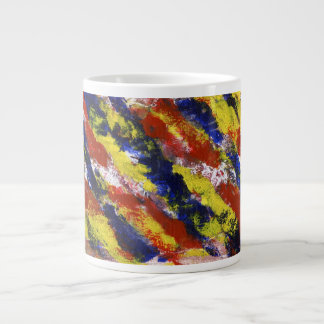 Bright Red Yellow Blue Painted Blob Stripes Extra Large Mug