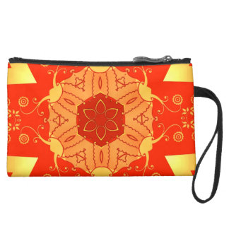 bright red & yellow oriental feel geometric floral wristlet purses