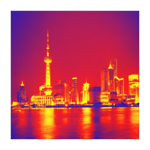 Bright reflection city night stretched canvas prints