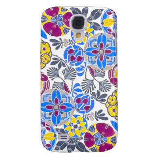 Bright Retro Flower Pattern Galaxy S4 Covers