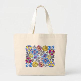 Bright Retro Flower Pattern Jumbo Tote Bag