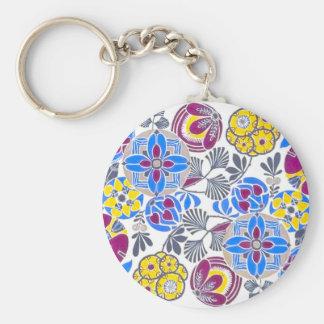 Bright Retro Flower Pattern Key Chains