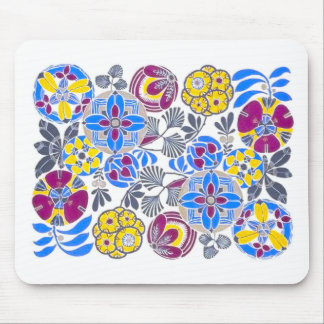 Bright Retro Flower Pattern Mouse Pads