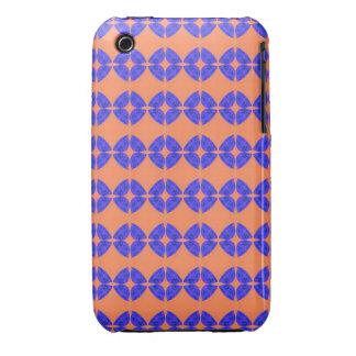 bright retro orange blue pattern iPhone 3 case