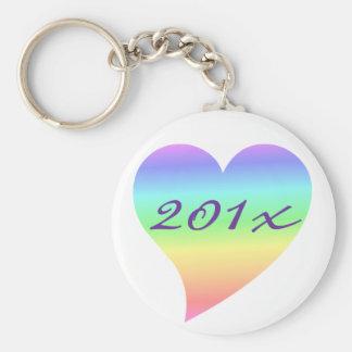 Bright Retro Pastel Rainbow Heart Love Basic Round Button Key Ring
