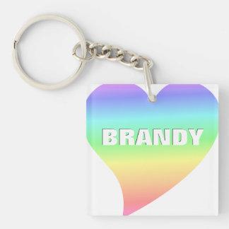 Bright Retro Pastel Rainbow Heart Love Double-Sided Square Acrylic Key Ring