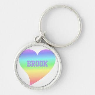 Bright Retro Pastel Rainbow Heart Love Key Chain