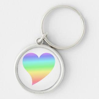 Bright Retro Pastel Rainbow Heart Love Keychains