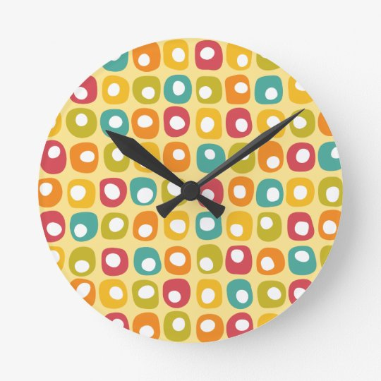 Bright retro square dots pattern red teal yellow